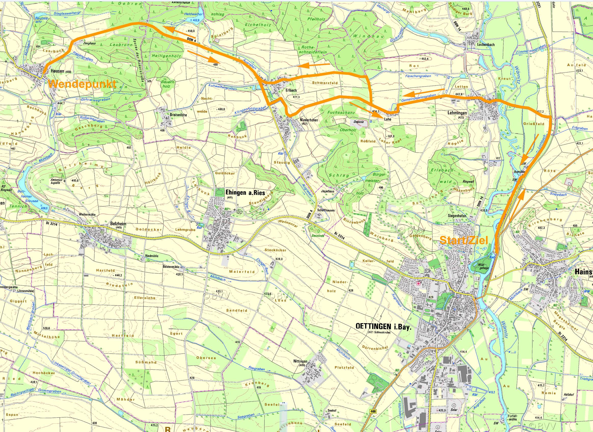 Karte Radstrecke